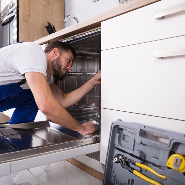 Worker performs trade in dishwasher
